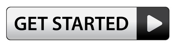 Get started button. Get started web button on computer generated web button icon on pure white background stock illustration