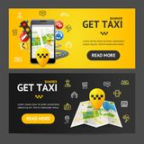 Get Taxi Service Banner Horizontal Set. Vector. Get Taxi Car Service Banner Realistic Detailed 3d Horizontal Set. Vector illustration of Public Transport in City Royalty Free Stock Photography