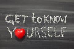 Get to know yourself. Phrase handwritten on school blackboard Royalty Free Stock Image