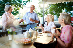 Get-together of seniors Royalty Free Stock Photography