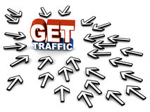 Get traffic. Get website traffic, mouse pointers rushing towards text, concept of more web visitors royalty free illustration