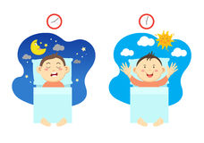 Get up early and have healthy sleep. Vector illustration royalty free illustration