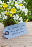 Get well. English get well card with wildflowers Royalty Free Stock Photos