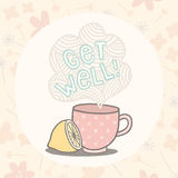 Get well greeting card with cute cup Stock Images