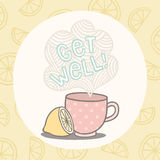Get well greeting card with cute cup. Vector EPS10 hand drawn set of fastfood meals Royalty Free Stock Photos