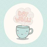 Get well greeting card with cute smiling cup. Vector EPS10 hand drawn illustration royalty free illustration