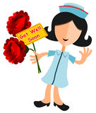 Get well soon. Abstract nurse happily gives flowers with a get well soon note Royalty Free Stock Photography