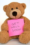 Get well soon. Teddy bear with a get well soon message