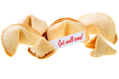 Get well soon! - backlit fortune cookies. Backlit fortune cookies isolated over white background Royalty Free Stock Image