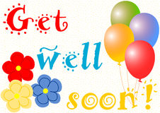 Get well soon with balloons and flowers Royalty Free Stock Photography