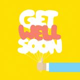 Get well soon balloons motivation card Royalty Free Stock Image