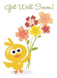 Get Well Soon bird with flowers. Vector illustration of bird with flowers Stock Photos