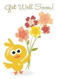 Get Well Soon bird with flowers Stock Photos