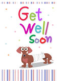 Get well soon card. Illustration of a cute little tekel dog wrapped in bandages Stock Photo