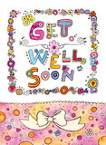 Get Well Soon Card. Cute design with hand lettering saying Get Well Soon and lots of cute details. Suitable for greeting cards Stock Image