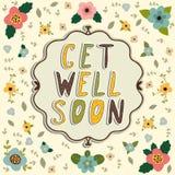 Get well soon card. Floral frame vector illustration