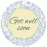 Get well soon card. Frame with medical elements. Medicine backgr Royalty Free Stock Photos