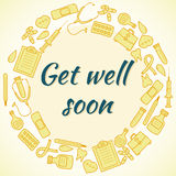Get well soon card. Frame with medical elements Royalty Free Stock Images