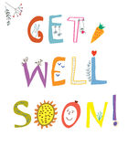 Get well soon card with funny lettering and flowers Stock Images