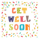 Get well soon card with pills. Greeting card Royalty Free Stock Photos