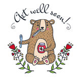 Get well soon card with teddy bear and jam Stock Photo