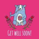 Get well soon card with teddy bear and jam Stock Photos
