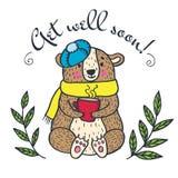 Get well soon card with teddy bear Stock Photos
