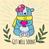 Get well soon card with teddy bear Stock Photo