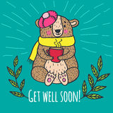 Get well soon card with teddy bear Royalty Free Stock Image