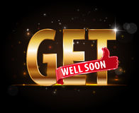 Get well soon, concept of encouragement, golden typography with thumbs up sign Stock Photos