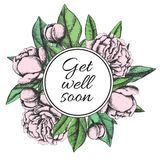 Get well soon. Friendly vector vintage card Royalty Free Stock Photos