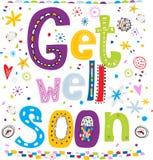 Get well soon! Fun text in cartoon style. Stock Photos