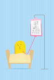 Get well soon funny monster character card Stock Images
