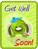 Get well soon greeting. With injured dog vector illustration