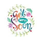 Get well soon greeting card. Isolated on white background stock illustration