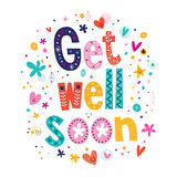 Get well soon greeting card. Get well soon lettering text greeting card vector illustration