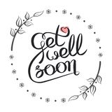 Get well soon. Handwritten decorative vector illustration. Hand drawn get well soon lettering card stock illustration