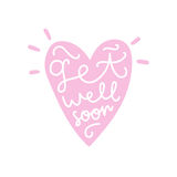 Get well soon. Heart silhouette with text. Royalty Free Stock Photography