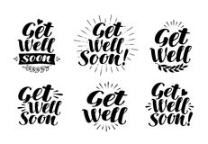 Get well soon, label. Health, medicine, hospital symbol. Lettering, calligraphy vector illustration Royalty Free Stock Photography