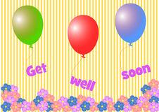 Get well soon lettering hanging on colorful balloons Stock Images