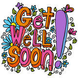 Get Well Soon Message. An image of a get well soon floral design drawing vector illustration
