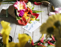 Get well soon message with bouquet stock images