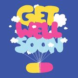 Get well soon vector postcard Royalty Free Stock Photography