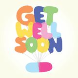 Get well soon vector postcard Royalty Free Stock Image