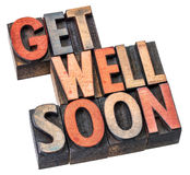 Get well soon wishes in wood type Stock Photos