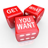 Get What You Want Dice Bet Gamble Risk. Get What You Want words on 3 red dice to encourage you to bet, gamble and take a chance on your skills and abilities to Stock Image