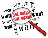 Get What You Want Words Magnifying Glass Find Royalty Free Stock Photos