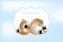 Get will soon card with bear. Vector illustration royalty free illustration