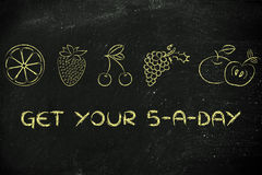 Get your 5 a day fruit and vegetables Royalty Free Stock Images