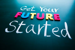 Get your future started concept. Colorful words on blackboard Stock Photo
